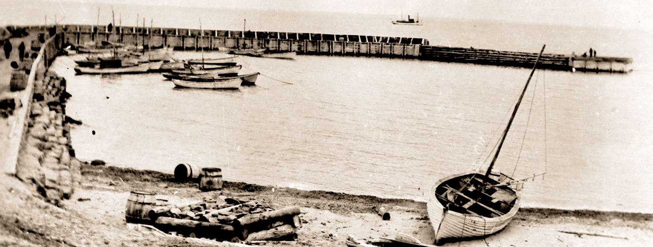 "Photo of ""Richibucto Head Breakwater 1919"" Courtesy Maurice Robichaud"