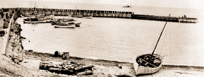 "Photo of ""Richibucto Head Breakwater 1919"" Courtesy Maurice Robichaud"